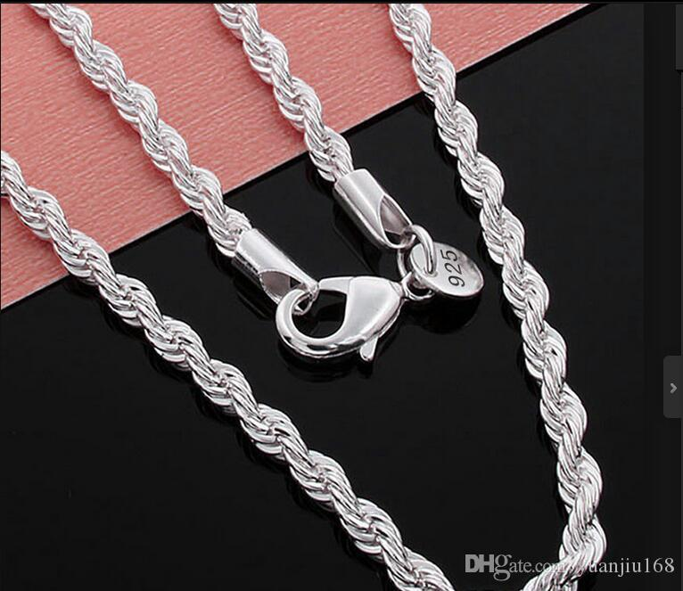оптовая цена 26-28-30 дюймов 3 мм, 2 мм витая цепи ожерелья 925 стерлингового sivler ювелирные изделия тонкой серебряные ожерелья для подвески G205