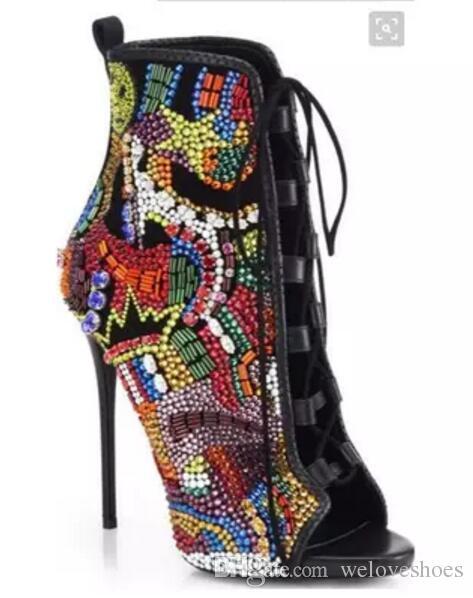 2017 новых женщин сапоги горный хрусталь шпильки пинетки mujer лодки peep toe сапоги женщины тонкий каблук алмазные высокие каблуки сапоги