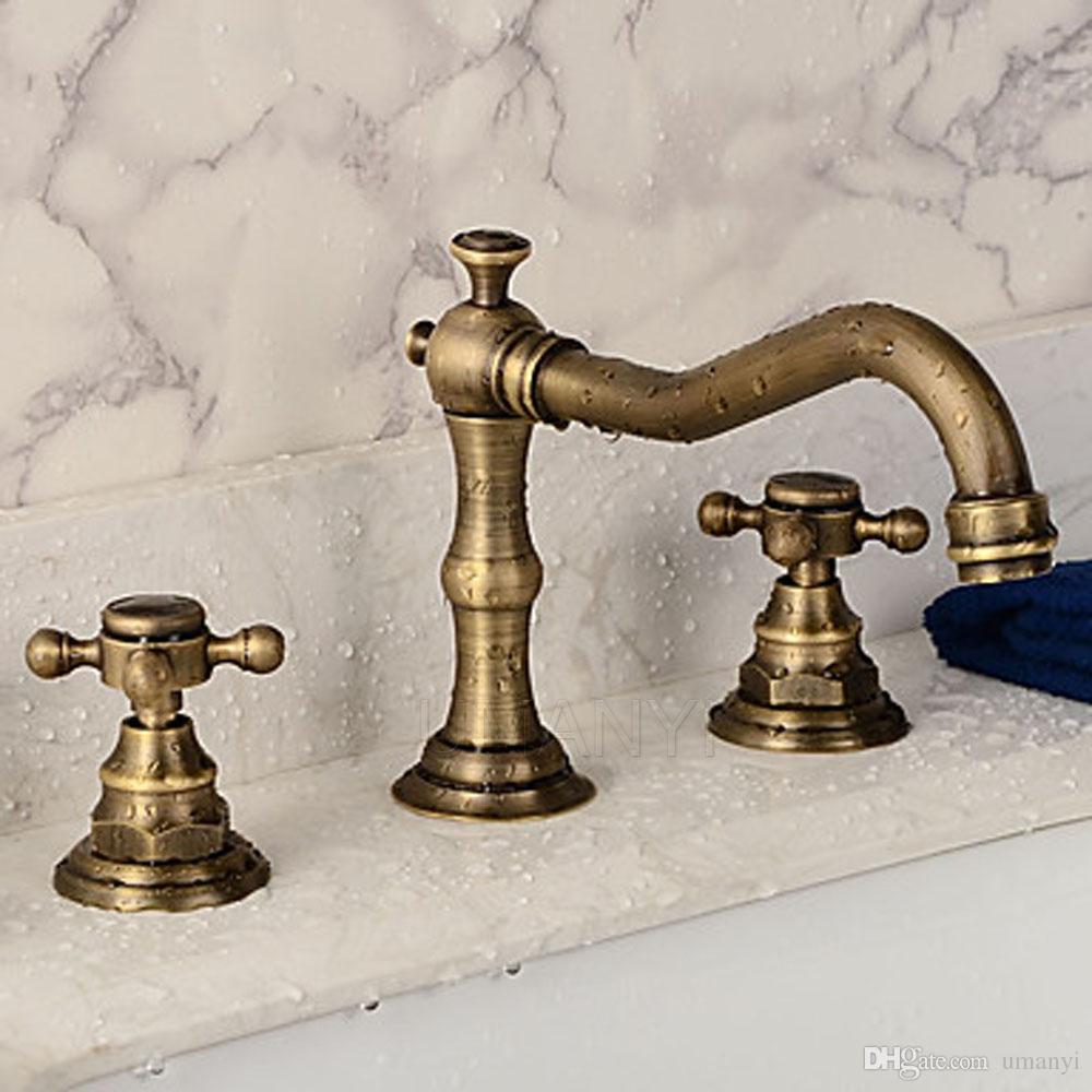 Rubinetto del bacino del bagno Ottone antico spazzolato Bronzo 2 manico Deck Mounted Hot Cold Mixer Rubinetti lavabo WC ABMPL008-1