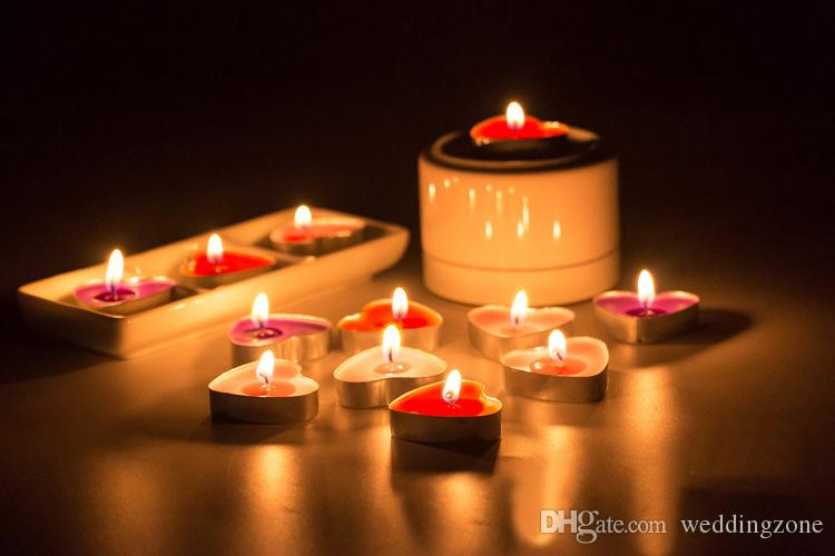 Heart-shaped Ghee Candle 2 Hours butter Candles 6 Colors 50pcs/set TeaLight Candles Non-Smoking Votive Candle