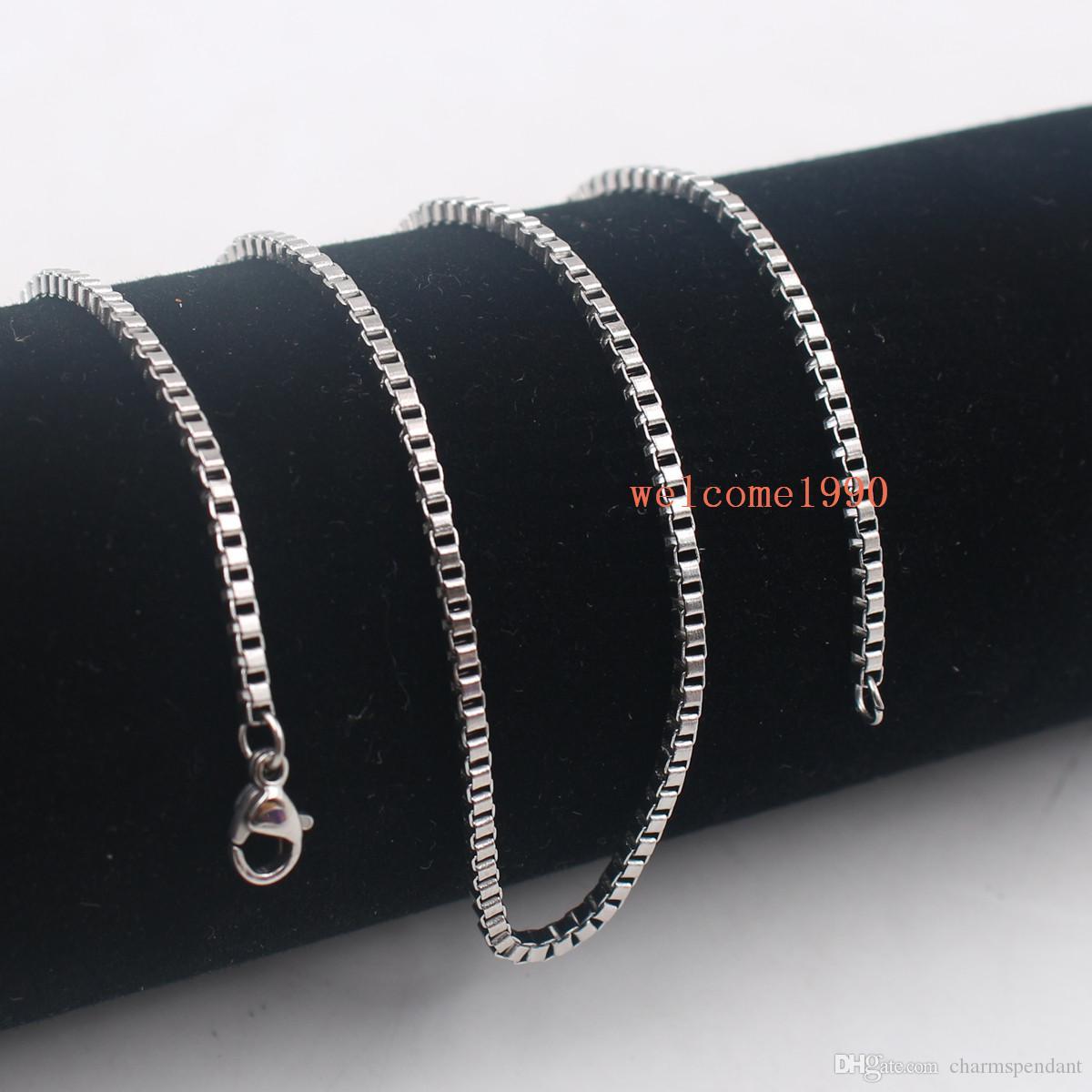 100pcs / Lot Venta caliente de la joyería Venta al por mayor en plata a granel Collar de cadena de caja de moda de acero inoxidable 2 mm / 2.4 mm de ancho