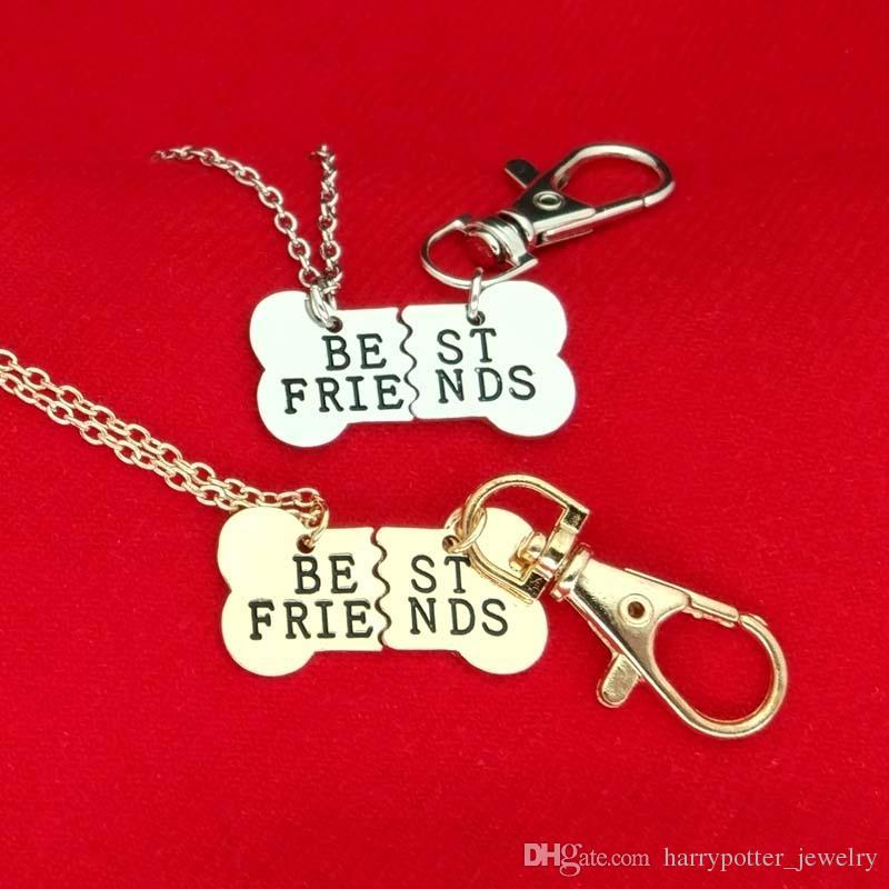 ossos Gold Silver MELHORES AMIGOS pendente do cão colar pet Colar BFF 2 parte ossos de cão colar e mens jóias chaveiro