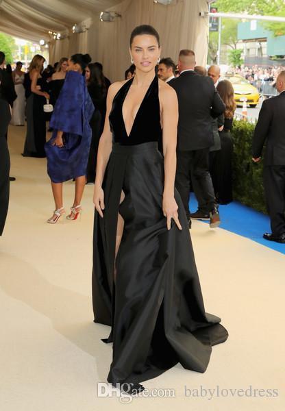 Холтер погружаясь декольте сексуальная знаменитость красный ковер платья открытой спиной высокая сторона сплит формальные партии длинные черные платья выпускного вечера