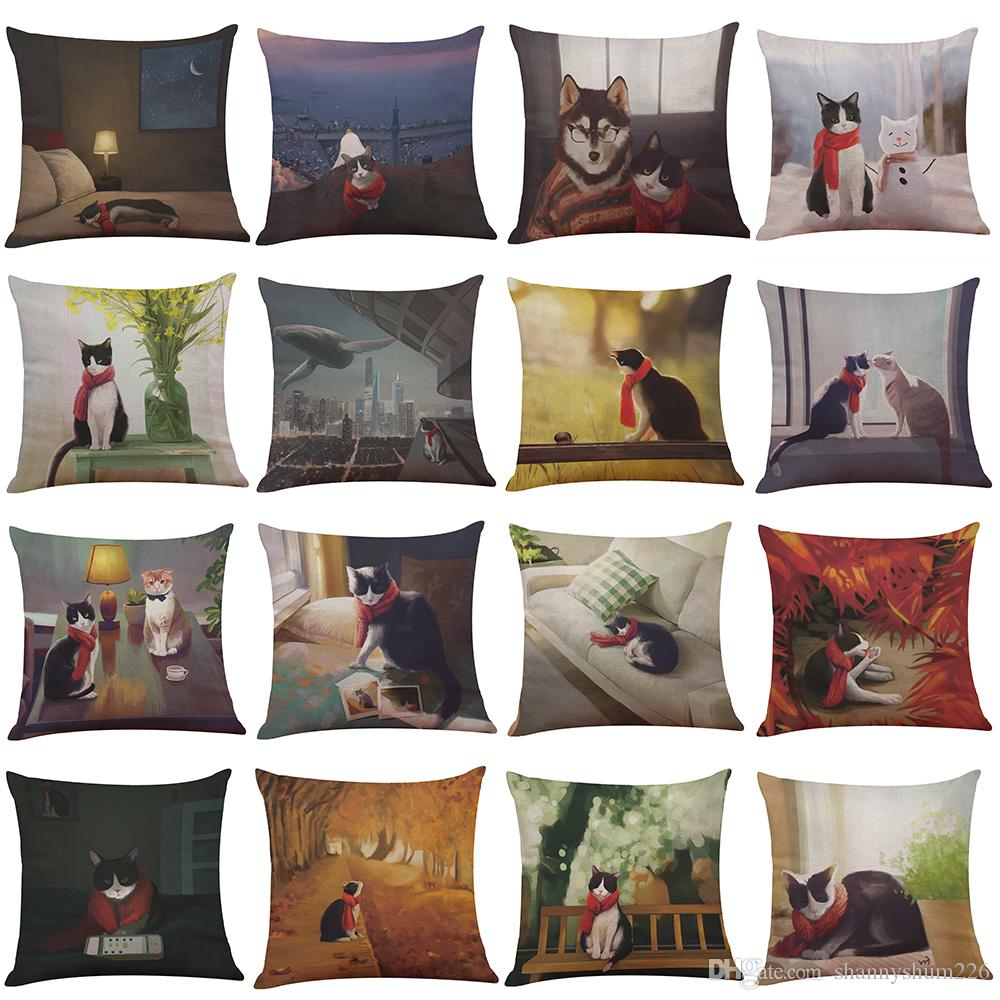 Red Scarf Cat Linen Cushion Cover Home Office Sofa Square Pillow Case Decorative Cushion Covers Pillowcases Without Insert(18*18Inch)