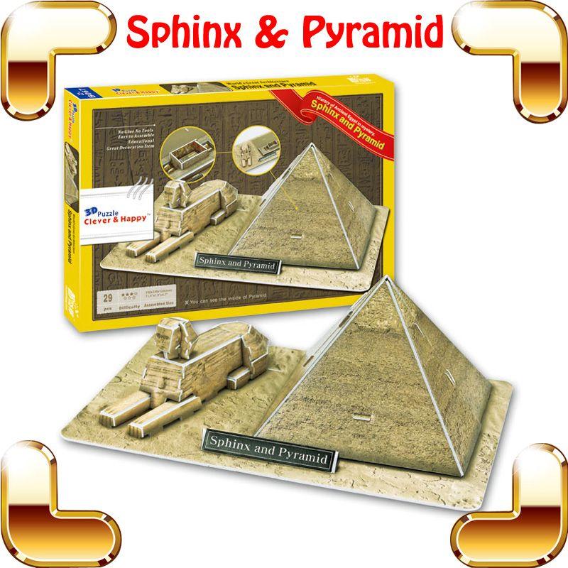 Yeni DIY Hediye Mısır Sfenks Piramidi 3D Bulmaca Piramitleri Modeli Çocuk Eğitim Oyuncaklar Eğlenceli Bulmaca Oyun Evi Dekora ...