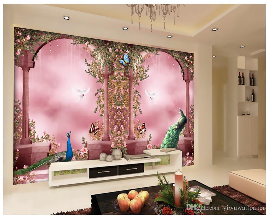 Romantico pavone Archi europee murale 3d carta da parati carta da parati 3D per la TV sullo sfondo
