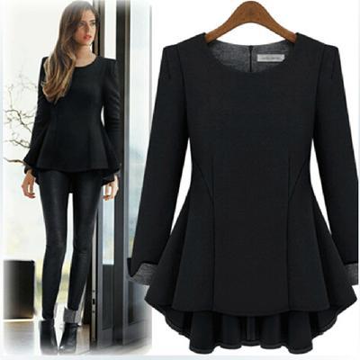 Großhandels- Plusgröße XL-5XL Herbst-Art-starkes T-Shirt Frauen Chinlon Peplum Rüschen-langes T-Shirt Oberseiten-langes Hülsen-loses T5818