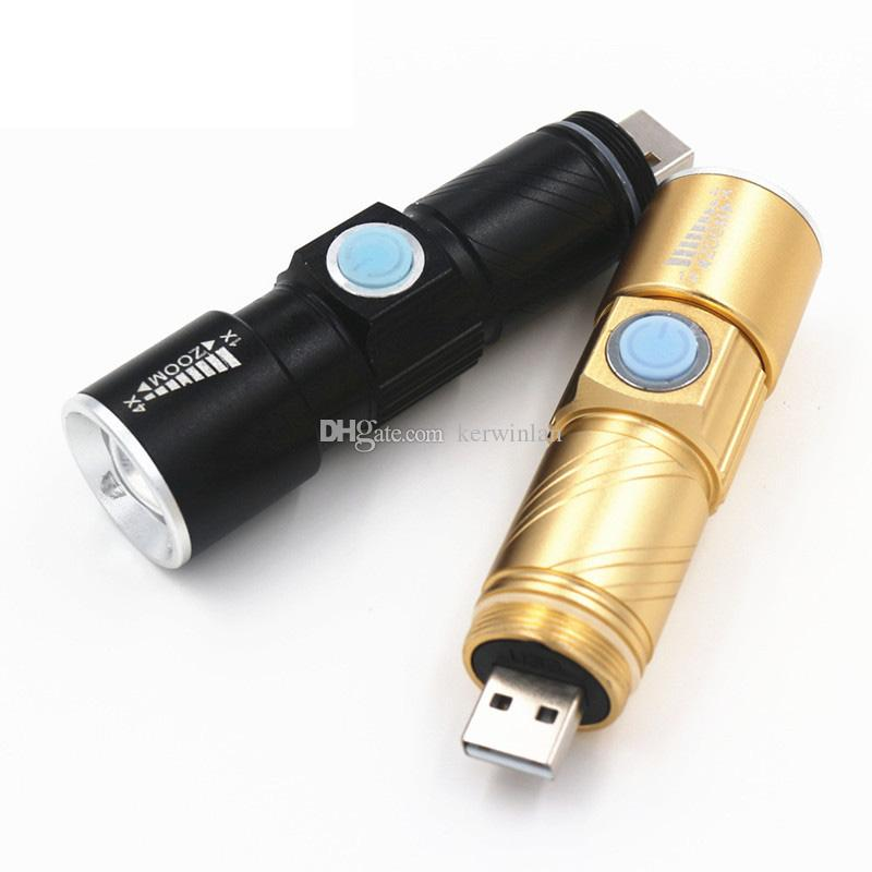 Waterproof Bike Headlight Q5 USB Rechargeable Led Flashlight Zoomable Light for Hunting Camping Bicycle Black/Gold Color