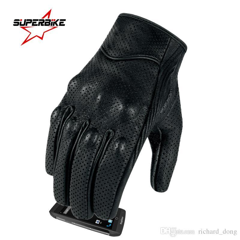 Gants de moto Touch Screen Véritable Cuir de chèvre Cuir Gant de vélo électrique pour hommes Homme Cyclisme Full Finger Moto Moto Bicycle Motocross Luvas Black S M L XL XXL
