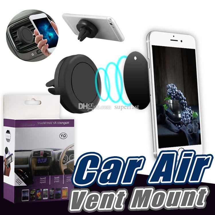 Suporte magnético do carro do respiradouro de ar da montagem do carro para o suporte da montagem do carro do painel de ventilação de ar dos telefones GPS com caixa de varejo