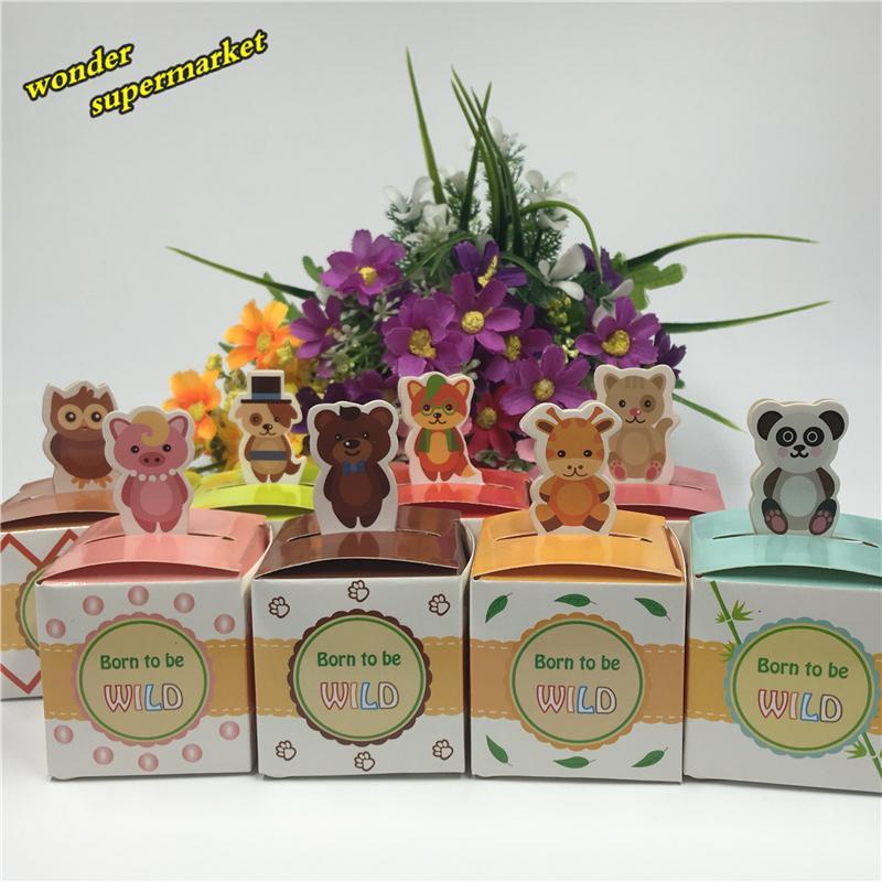 Wholesale-50pcs 귀여운 동물 사탕 상자 초콜릿 포장 상자 기념품 아기 샤워 파티 장식은 선물 상자를 호의한다