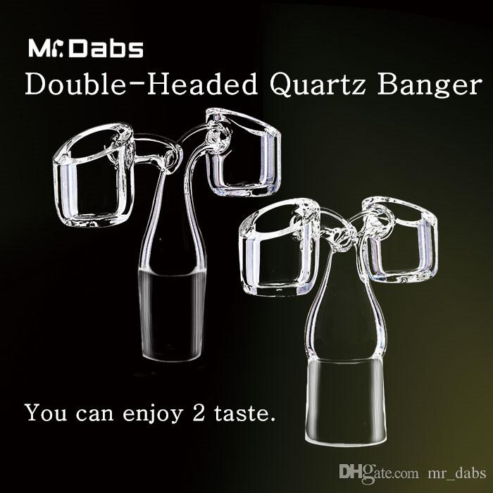 4MM dicker Quartz Banger Domeless Nail Doppelköpfiger Dragon Twin Quartz mit zwei Schüsseln für Bohrinseln an Herrn Klieschen