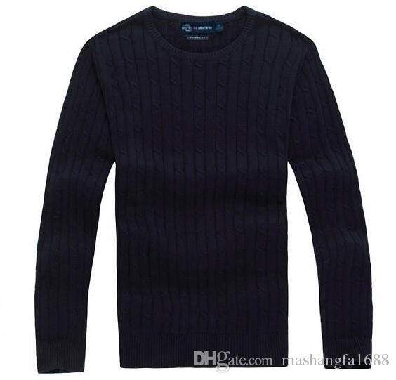 Free shipping 2018 new high quality mile wile polo brand men's twist sweater knit cotton sweater jumper pullover sweater Small horse game