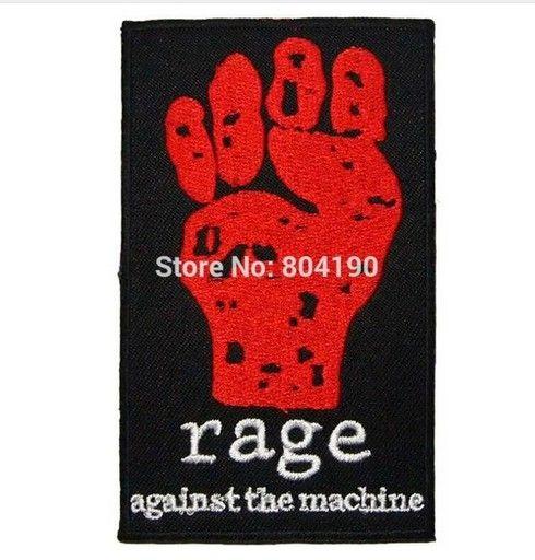 "4 ""RAGE AGAINST THE MACHINE 헤비메탈 음악 락 밴드 LOGO 자수 된 IRON ON 패치 applique 모자 햇"