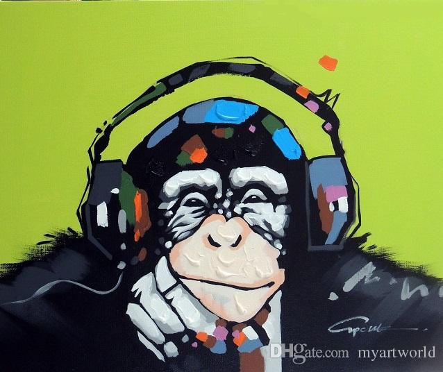 Framed Monkey Chimp Earphones Music,Genuine Hand Painted Modern Cartoon Animal Pop Art oil Painting On Canvas Museum Quality Multi size J066