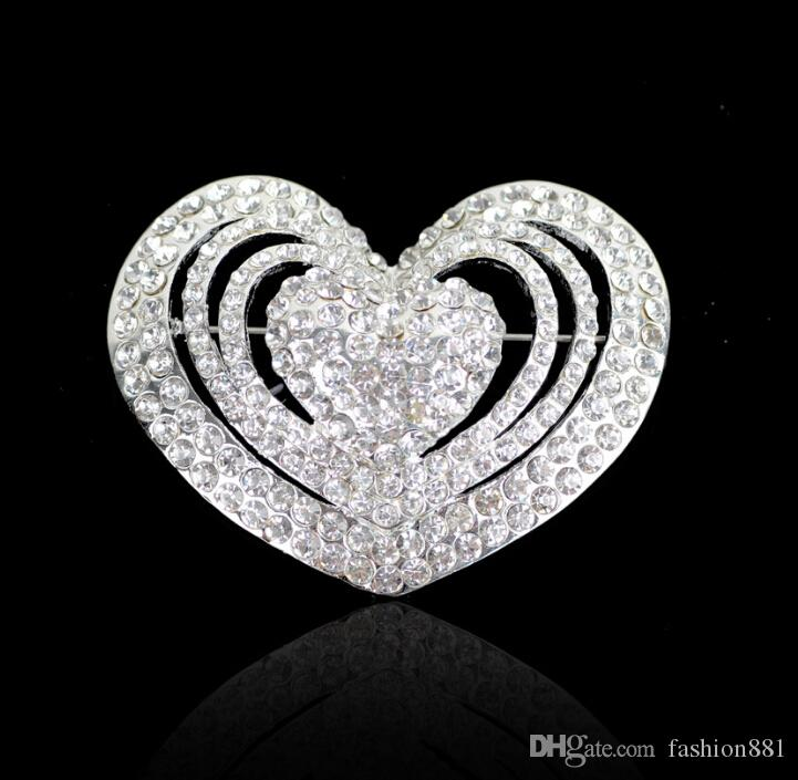 5CM Clear free shipping cheap price rhinestone brooch heart brooch in silver beautiful brooch for wholesale