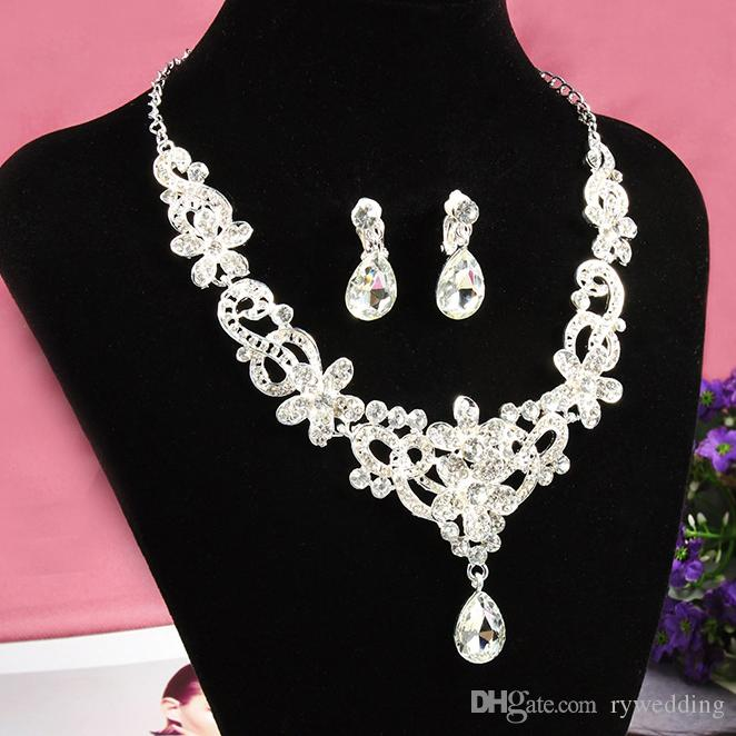 Luxury Bridal Accessories water drop Crystal Necklace Earring Accessories Wedding Jewelry Sets Cheap Fashion jewelry Hot Sale