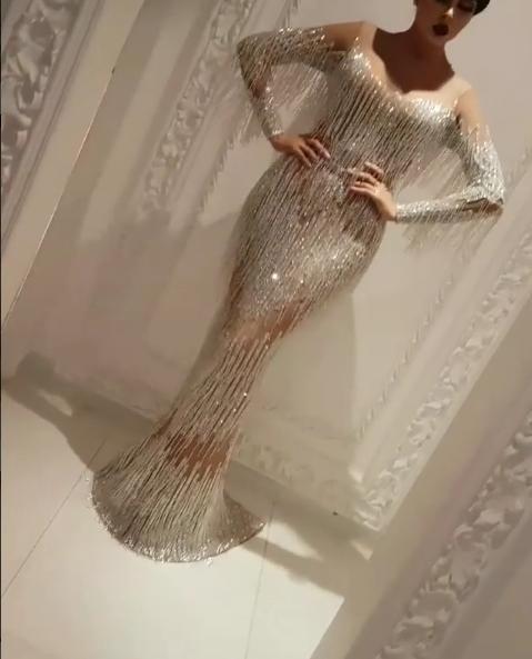 Evening Dress Yousef Aljasmi Labourjoisie Long Sleeve Crystals Tassels  Charbel Zoe Kylie Jenner Kim Kardahisn Zuhair Murad Celebrity Dress Size 18