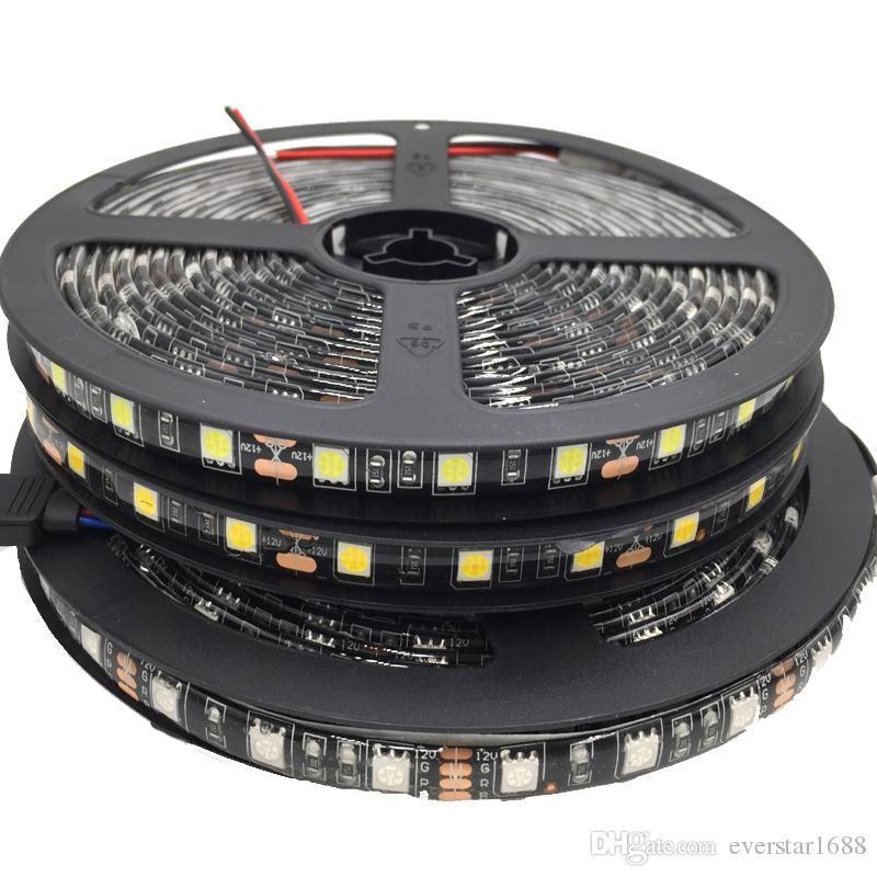 5050 Black PCB RGB LED Streifen Licht 12 V 5m 300LEDS Flexible Streifen String Wasserdichte LED Ribbon Band Lampe Home Decoration Licht