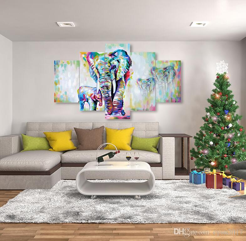 Compre 5 Unidades De Lona Pintura Africana Arte Moderno Elefantes ...