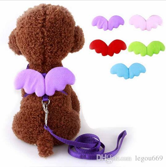 Cute Angel Pet Dog Guinzagli e collari Set Puppy Leads per cani di piccola taglia Cats Designer Wing regolabile Dog Harness Accessori per animali HJIA1104