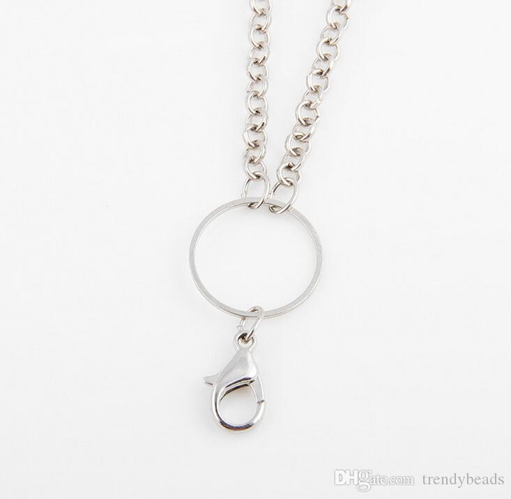 Floating Charms Locket Chains Necklace Rolo Link Long Chain For Glass Living Memory Locket