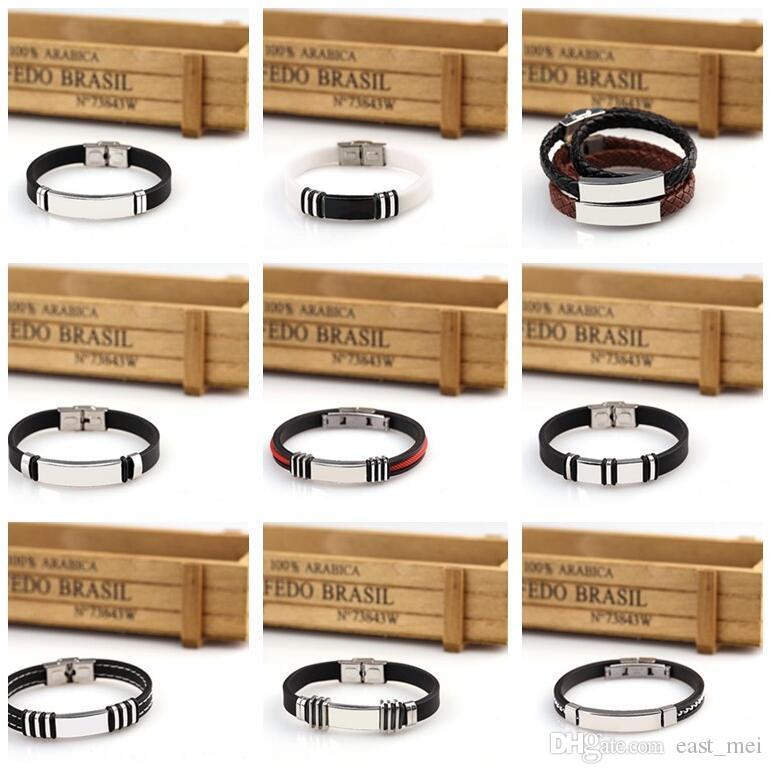 Activities souvenirs can be engraved DIY silicone titanium steel light bracelet FB372 mix order 20 pieces a lot Slap & Snap Bracelets