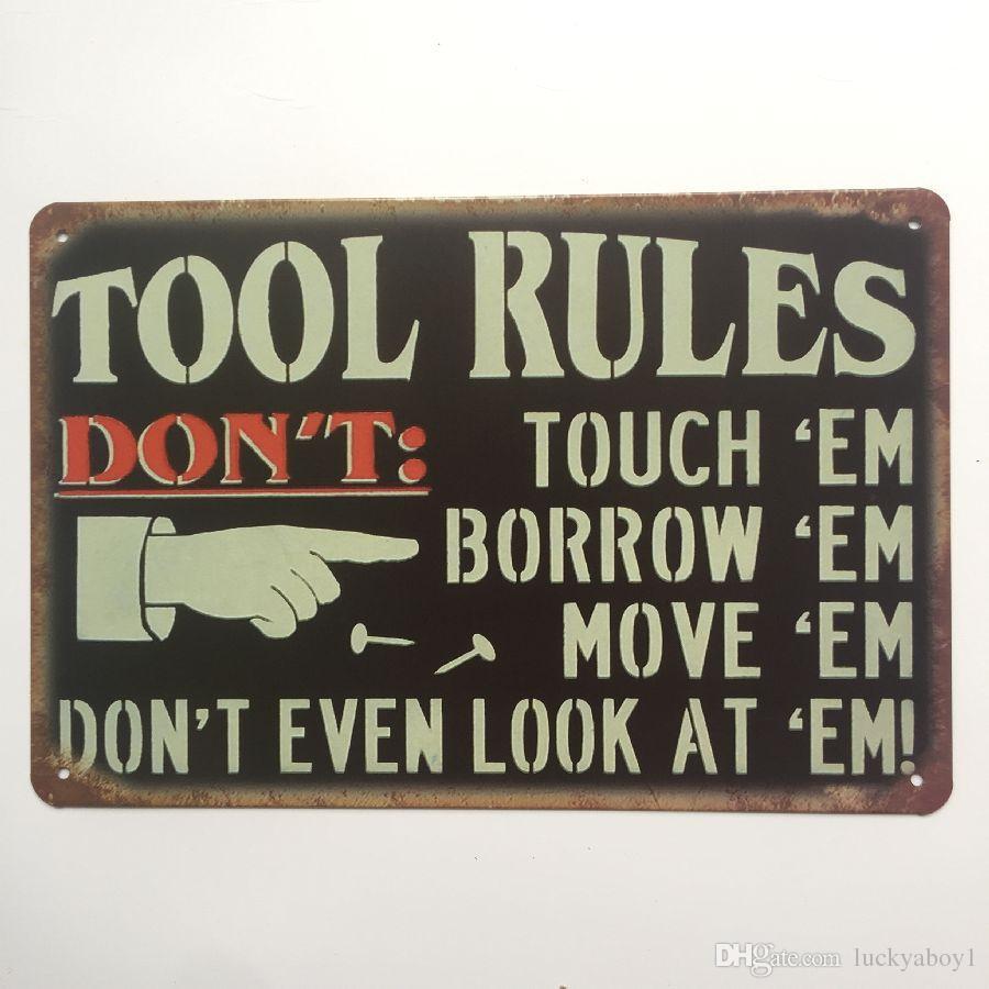 Werkzeug Regeln Retro Vintage Metall Blechschild Poster für Mann Cave Garage Shabby Chic Wandaufkleber Cafe Bar Wohnkultur