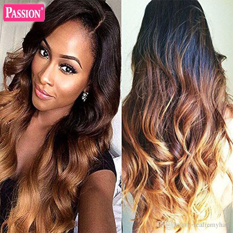 Brazilian Ombre Human Hair Bundles Three Tone 1b/4/27 Blonde Remy Hair Weave Wholesale Colored Body Wave Hair Extensions Deals