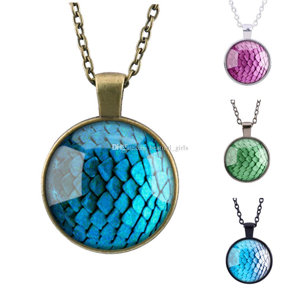 10pcs / lot Jeu de trônes vert dragon oeuf verre cabochon dôme pendentif collier Dragons temps de galaxie gem pendentif diy collier de bande dessinée