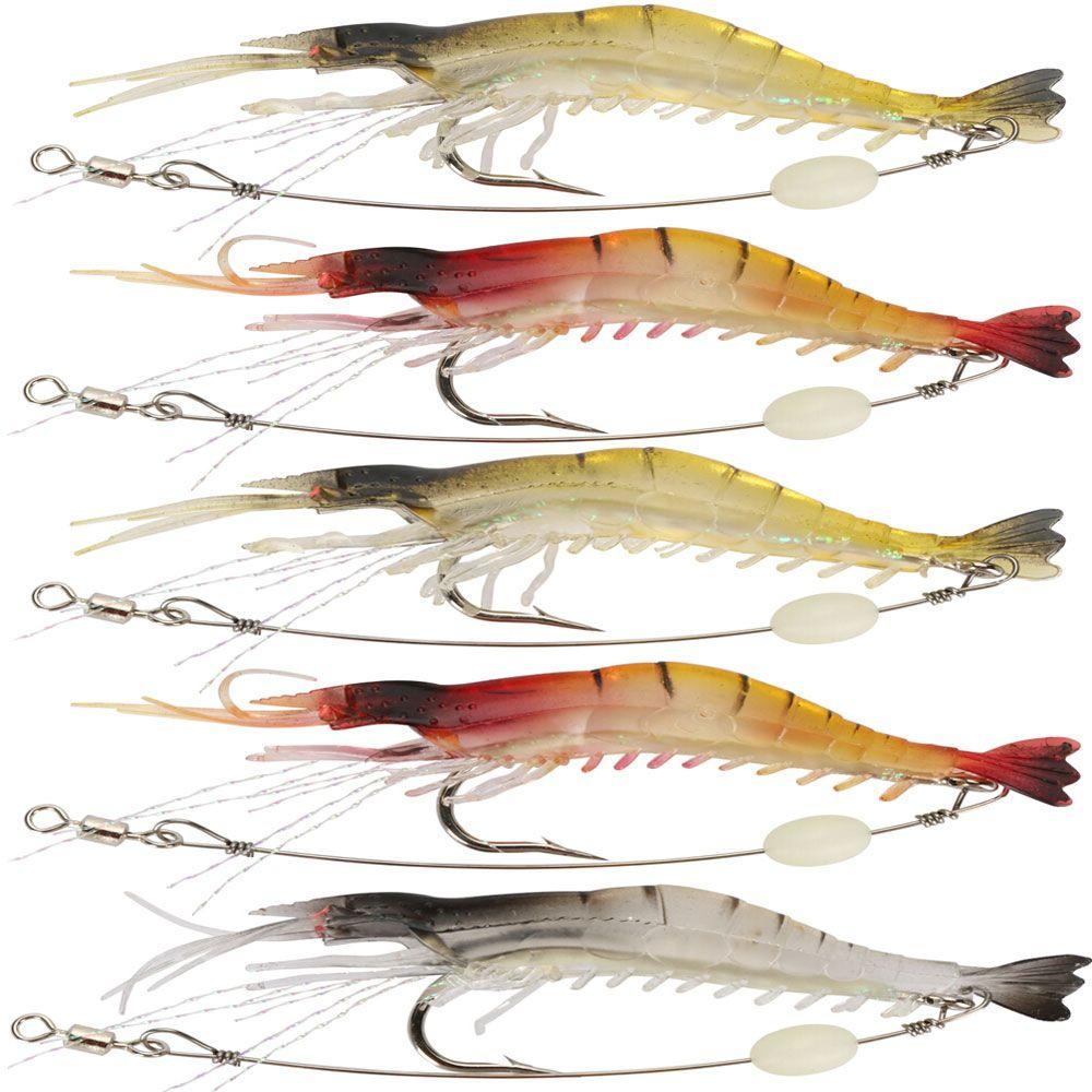 5pcs Shrimp Fishing Lures Soft Bait Luminous Shrimp Fishing Lure Artificial Bait