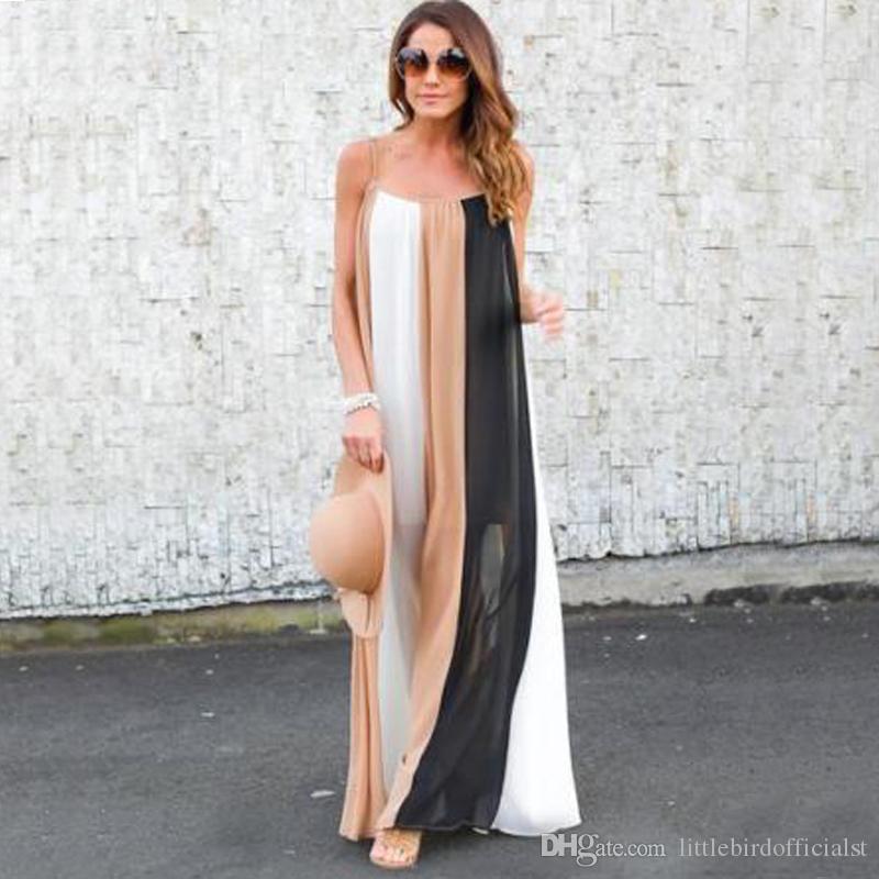 Casual vestido vintage solto boho vestido de praia mulheres verão sexy 2021 listrado maxi patchwork longo mangas hljgv