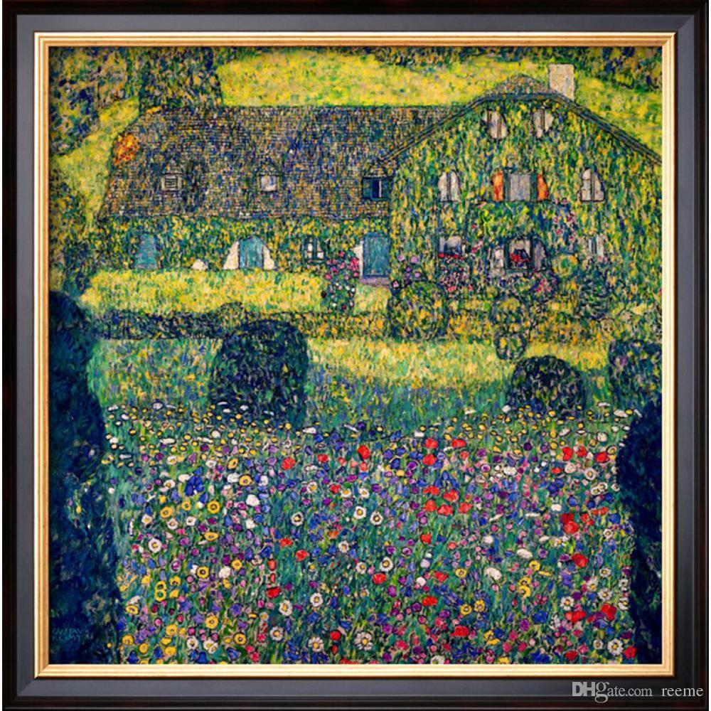 Gustav Klimt Landscapes art CASA DE CAMPO EN ATTERSEE LAKE UPPER AUSTRIA Pintura al óleo moderna Alta calidad Pintado a mano