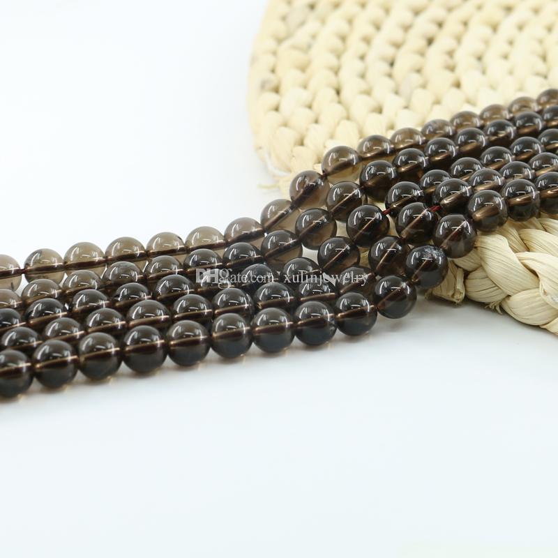Top Quality A Grade Natural Smoky Quartz Synthetic Beads Semi Precious Gemstone 4/6/8/10mm Full Strand 15 inch L0259-A#