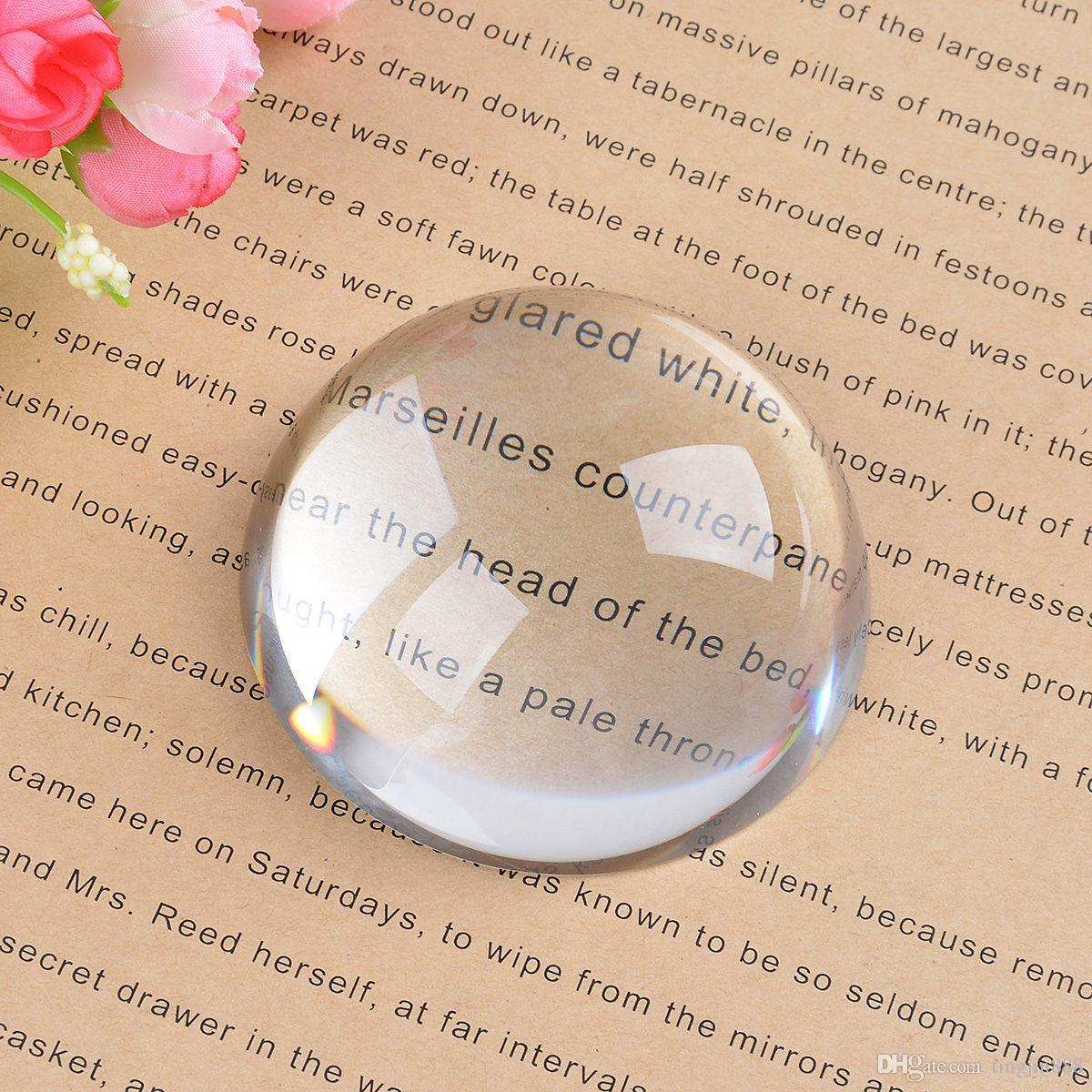 80MM Big Magnifying Semi CRYSTAL Ball Glass Paperweight Magnifiers Desk Decor