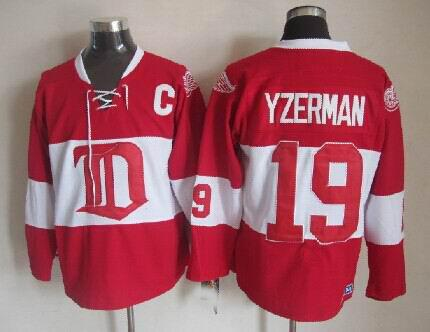 ... Throwback Detroit Red Wings 19 Steve Yzerman Hockey Jerseys Vintage  Home Red White Winter Classic Mens ... f72823415