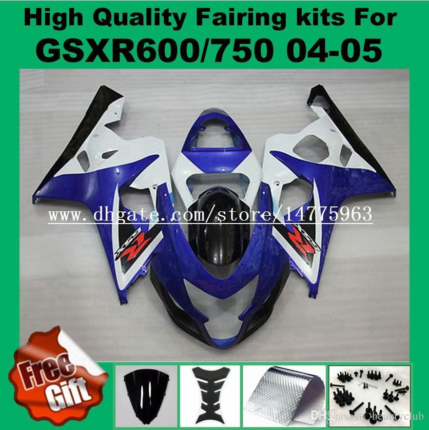 Carene iniezione per SUZUKI K4 K5 GSXR600 GSXR750 2004 2005 GSX-R600 GSX-R750 04 05 Kit carenatura GSXR 600 750 blu bianco nero # 3P81 9Regole