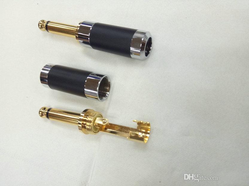 "2 Pcs Copper 6.3mm 1//4/"" Mono Jack Plug Connector For Soldering"