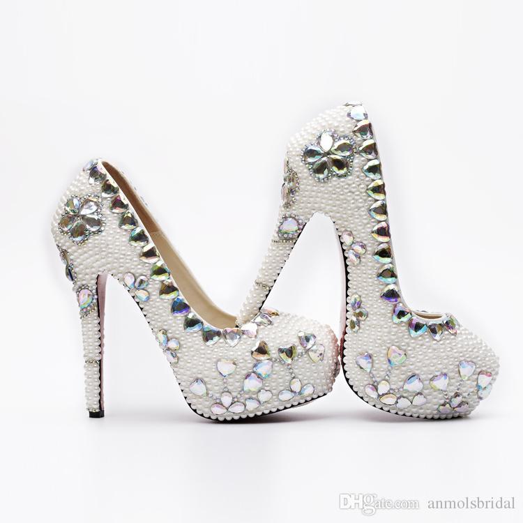 sports shoes 2f5a9 ca4d7 Großhandel Luxuriöse Perlen Cinderella Schuhe Prom Abend High Heels  Kristall Braut Brautjungfer Handgefertigte Hochzeitsschuhe 5 8 11 14 Cm 066  Von ...