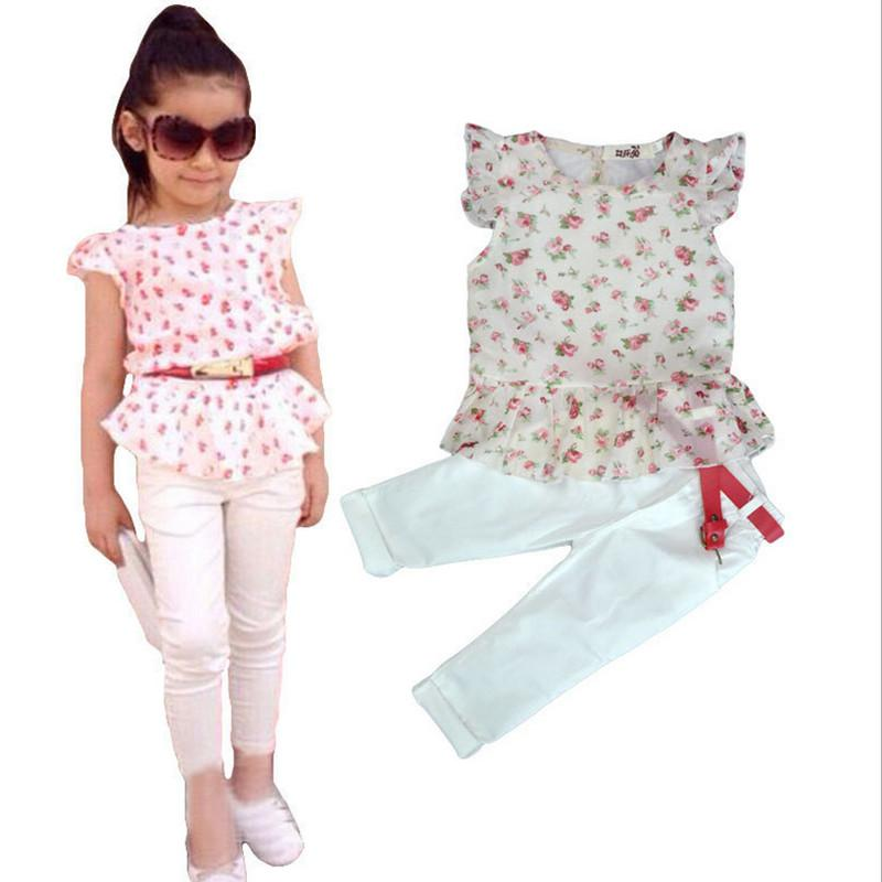 Wholesale- 2016 Summer Girls clothing set kids girls Europe and America printed cotton t shirt+ cottton pants+belt 3 pieces clothing sets