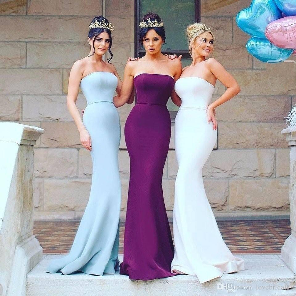 Robes De Demoiselle D'honneur Sexy Pas Cher Sexy Sans Bretelles Réception De Mariage De Longue Demoiselle D'honneur Robes Livraison gratuite