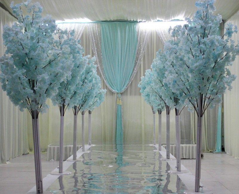 1.5 متر ارتفاع 5 أطيق أبيض زهر الكرز الاصطناعي شجرة العمود الروماني يؤدي العروض لمرك الزفاف