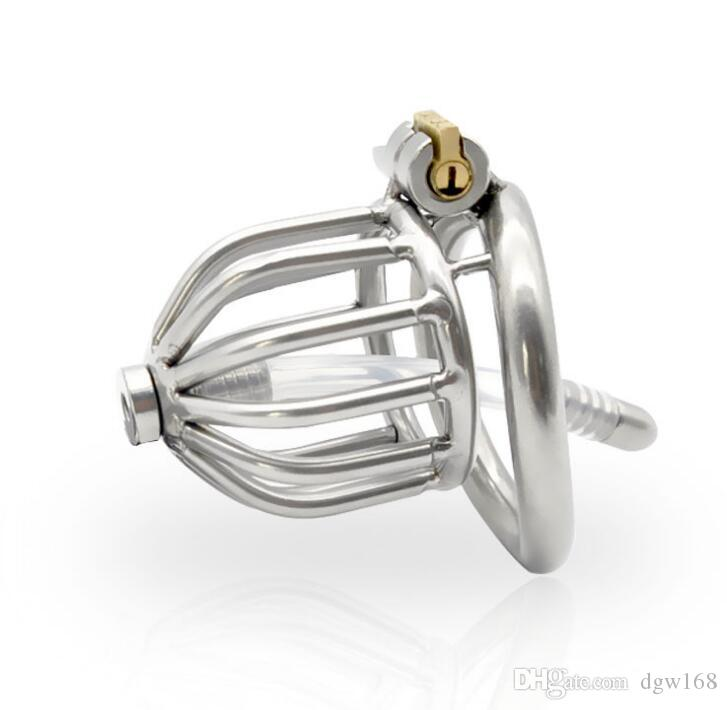 Chastity Devices Male Penis Lock Stainless Steel Chastity Belt Metal Cock Cage For Men With Curved Penis Rings with urethral catheter BDSM