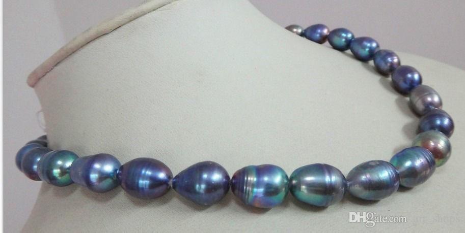 Collier en perles de Tahiti noir bleu tahitien 13mm