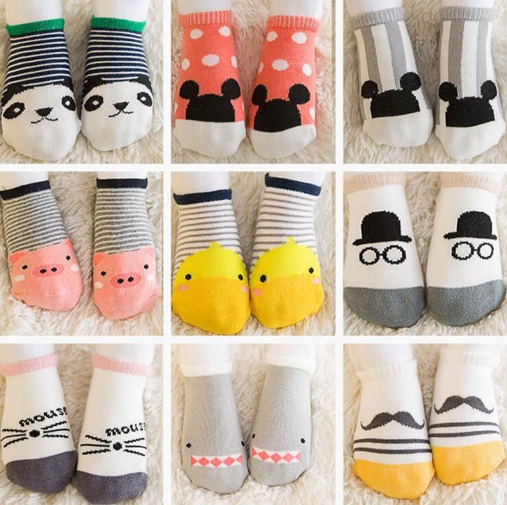 Cute Baby Boy Girl Cartoon Cotton Socks Anti-slip Kids Infant Soft Floor Socks