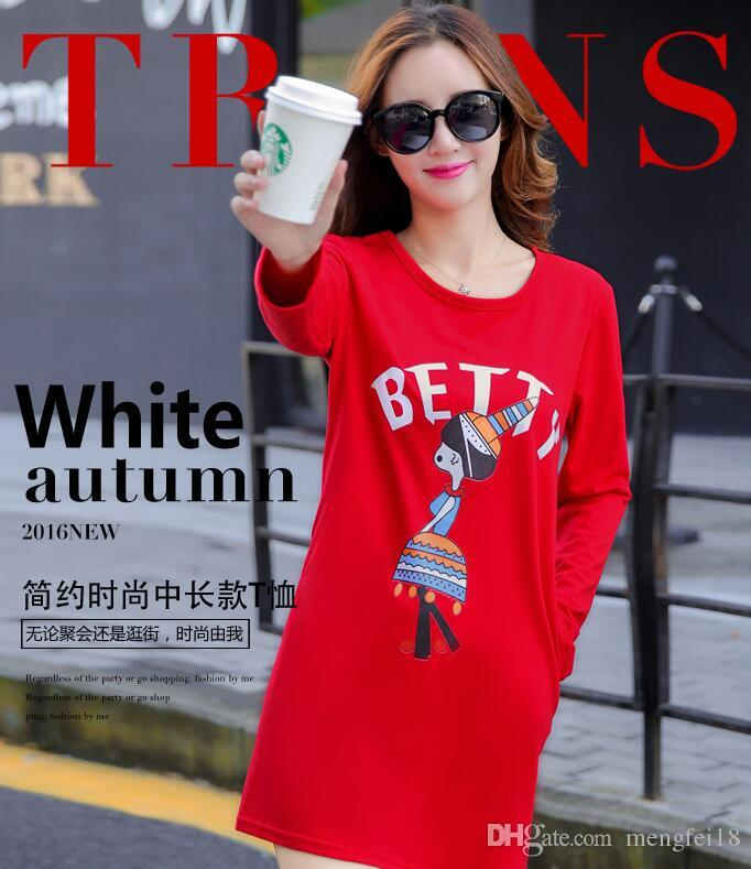 Ropa de manga larga femenina en ms rinde ropa superior sin forro en el otoño y el invierno largo 2017 edición de la camiseta nueva bromista de moda