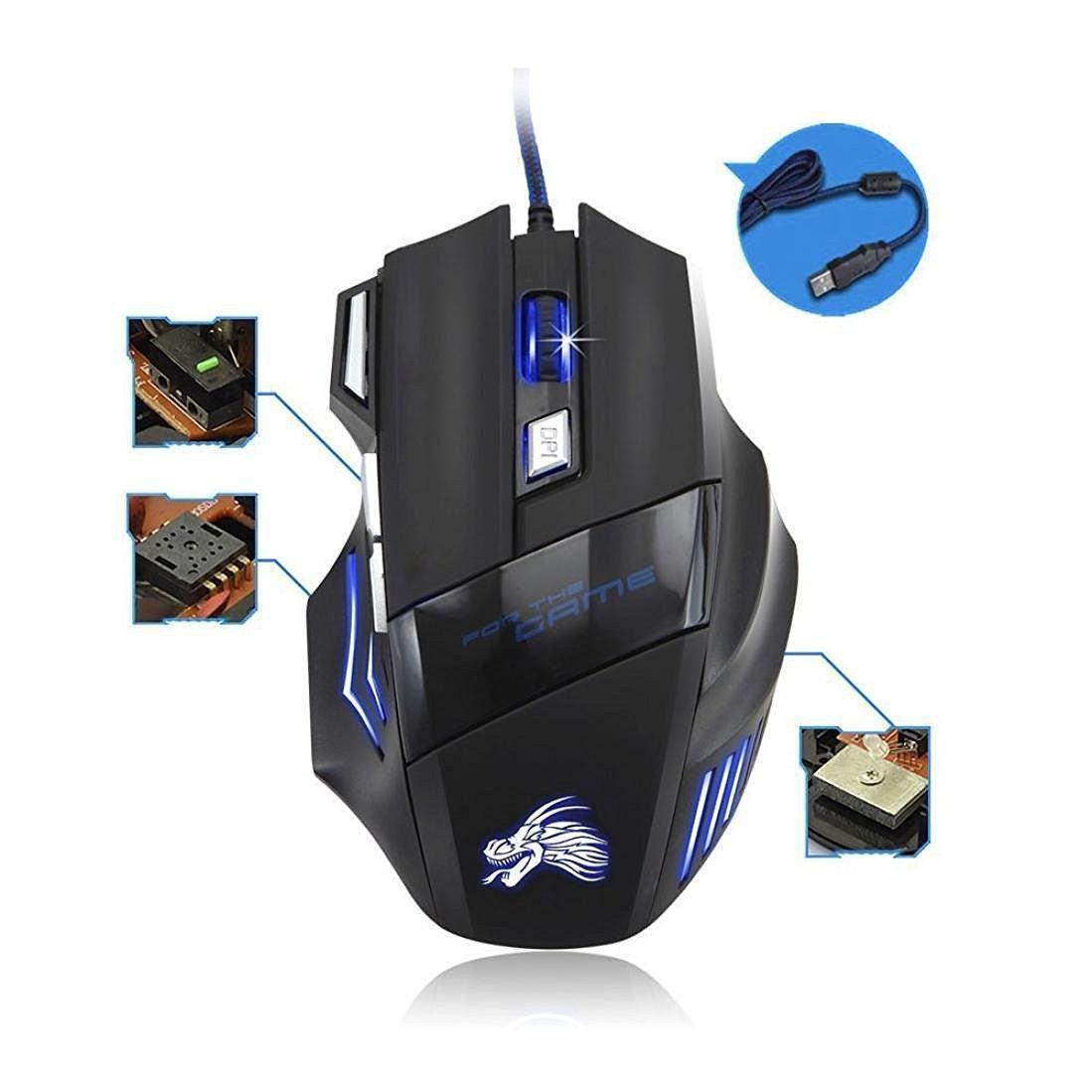 5500 DPI 7 Botão LED USB Óptico Wired Gaming Mouse Ratos para pc laptop