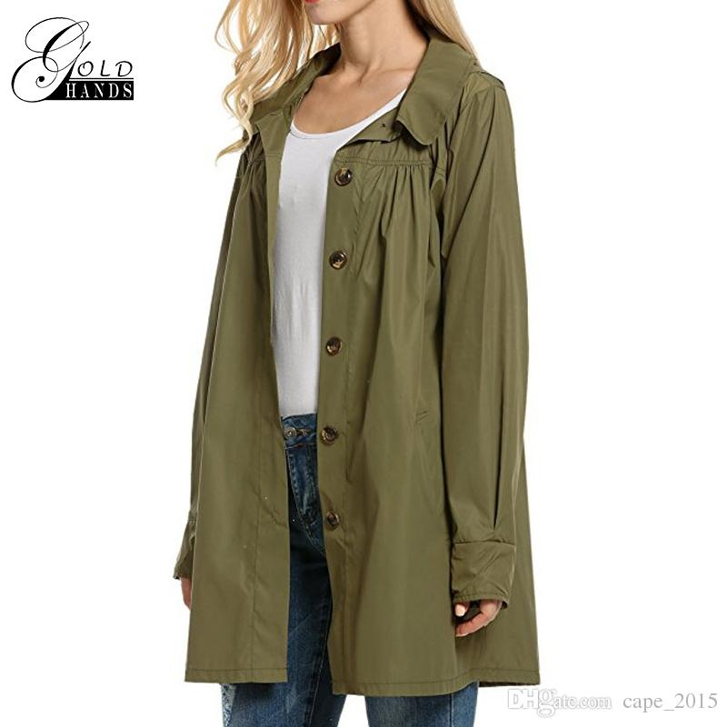 Solid Trench Ladies Long Sleeve Light Waterproof Jacket Outdoor Casual Outwear Women Hooded Coat Solid Loose Streetwear Jackets