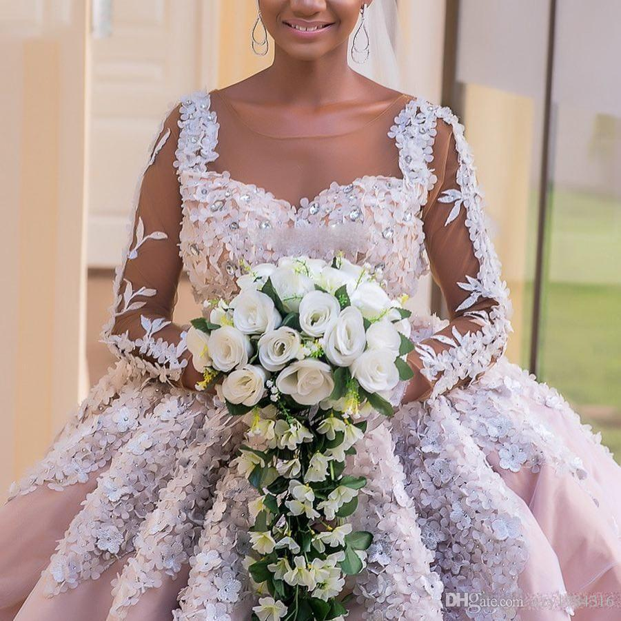 Ball Gown Long Sleeve Beaded Crystal Applique Watteau: Discount Crystal Beaded Floral Wedding Dresses Sheer