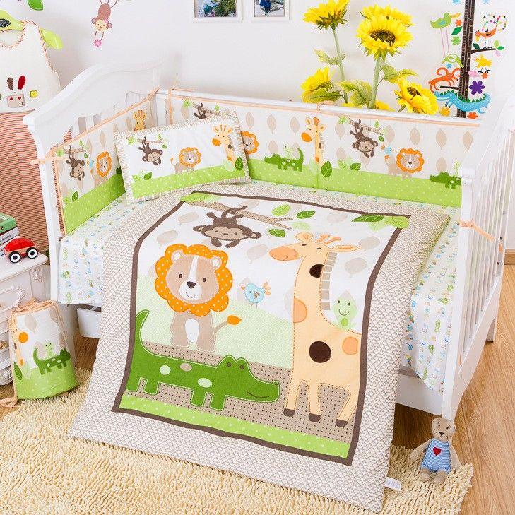 cheap cotton baby bedding set 3d giraffe monkey forest animals